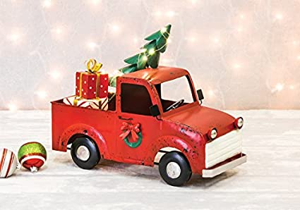 hannas handiworks christmas red truck hauler table top decor metal farm truck with led lights - Christmas Truck Decor