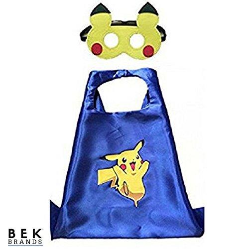 Bek Brands Pokemon Pikachu in Blue Superhero Cape and Mask Set | Dress up Satin Cape and Felt Mask, Costume for Kids Party