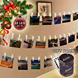 Luckti 30 LED 10 ft Photo Clips String Lights Battery Powered Fairy String Lights Hanging Photos, Pictures, Cards for Home Decoration
