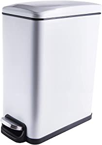 CLTEC Rectangular Small Trash Can with Lid Soft Close and Removable Inner Wastebasket, Slim Trash Can for Bathroom, Bedroom, Office, Anti-Fingerprint Matt Finish, 10L/2.6Gal, White
