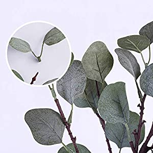 YUYAO Artificial Plants Silver Dollar Eucalyptus Leaves 6Pcs Leaf Silk Artificial Greenery Stems Fake Plants Leaves for Home Wedding Party Decoration 3