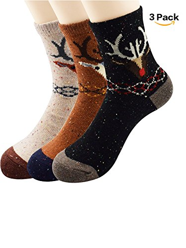 Zando 3-5 Pairs Womens Girls Vintage Style Printed Autumn Soft Casual Thin Knit Wool Crew Socks 3 Pack - Deer Shoe Size 6-11