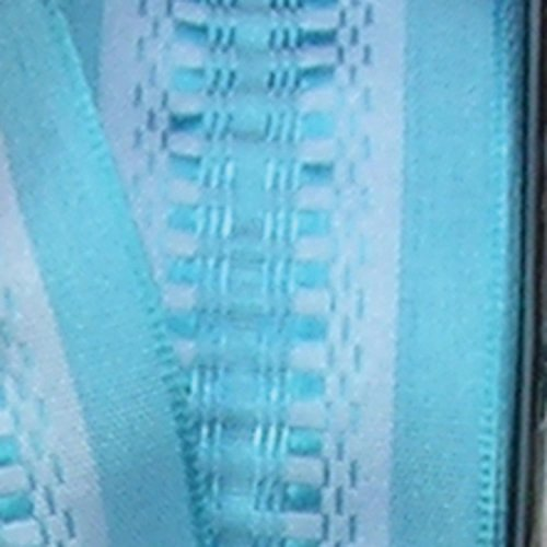 Blue Taffeta with Light Blue Woven Print Wired Craft Ribbon 1.5