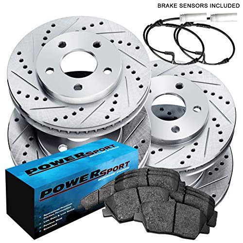Fit 2007-2010 Mini Cooper Front Rear PSport Drill Slot Brake Rotors+Ceramic Pads