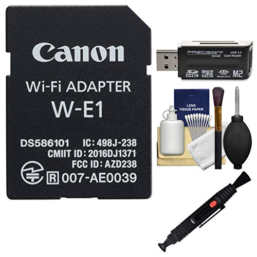 Canon W-E1 Wi-Fi Mobile Adapter for EOS 7D Mark II, EOS 5DS, EOS 5DS R Cameras with Card Reader + Cleaning - Adapters W/2 Memory Card