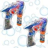 Haktoys 2-Pack Regular Transparent Bubble Gun Shooter Light Up Blower | Toy Bubble