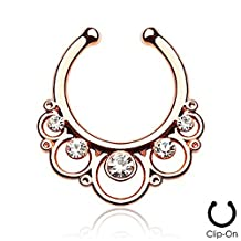 1 x Rose Gold Clear Multi Crystal Floral Round Loop Surgical Steel Fake Faux Clip On Septum Ring, No Piercing Required