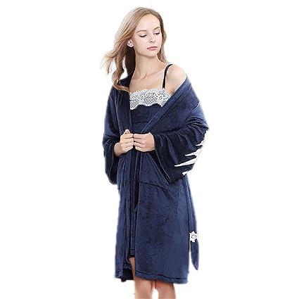 28977d45590e Shirleyle Elegante Engrosado Vestido de Pijama Abrigo de Las Mujeres  Conjunto 2 Piezas Suave Suave Ropa