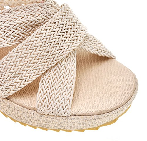 Cloth Summer Creative Short Cotton Sandalo Dimensioni 38 Shoes Open Ventilate Boots Knit Nero colore 6cm Zjm Beige toe Coutut XBCqw8FFx