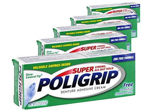 (5 Pack) Super Poligrip Denture Adhesive Cream - Strong, All-Day Hold - Zinc Free - No Artificial Flavors or Colors - 0.75 oz. - Poligrip Denture Adhesive