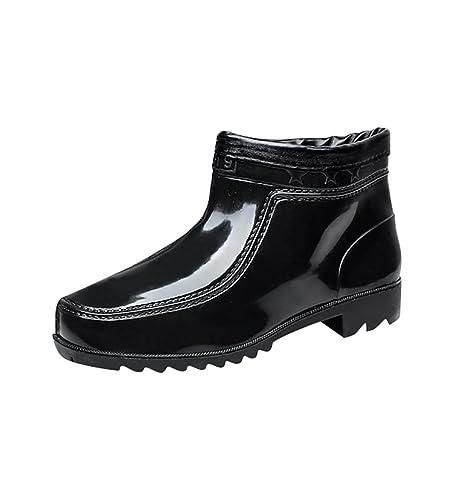 LvRao Hombres Zapatos Impermeables Tobillo Bajos Botas de Goma Botines de Lluvia Boots Cortos Negro 43: Amazon.es: Zapatos y complementos