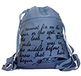"""Canvas handbag with a quote from the """"Pride and Prejudice"""" by Jane Austen"""