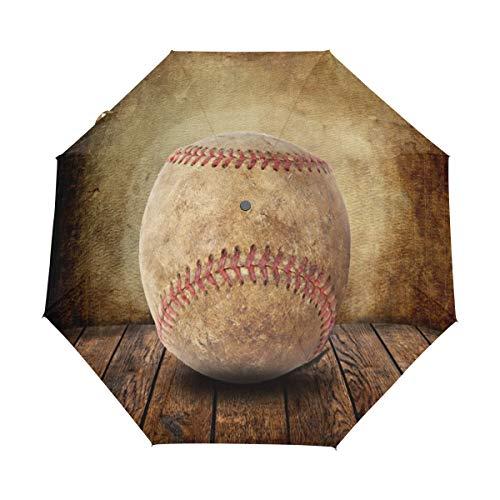 OuLian Umbrella Sports Ball Prints Baseball Golf Travel Sun Rain Windproof Auto Umbrellas with UV Protection for Girls Boys Kids
