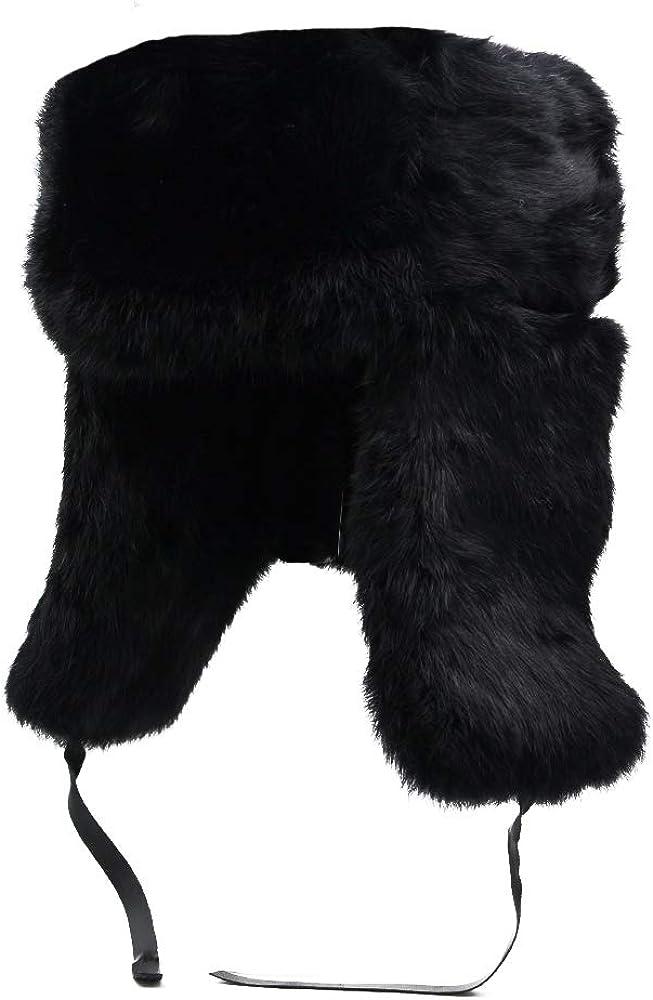 798f53ff6 Genuine Rabbit Fur Russian Ushanka Winter Hat Trapper Bomber w/Ear Flaps