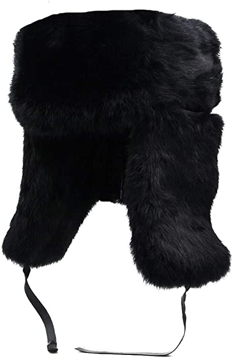 1f856bb4866 Yosang Genuine Rabbit fur Russian Ushanka Winter Hat Trapper Bomber w Ear  Flaps Black