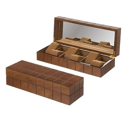 Joyero para Relojes de Madera marrón Moderno para Dormitorio Bretaña - LOLAhome