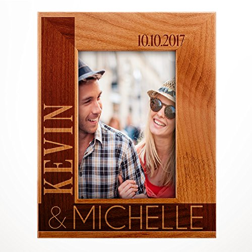 (Personalized Wooden Wedding, Engagement, Valentines Day, Memorial Picture, Customized Bamboo Photo Frame - Custom Frame - Size Options: 4x6 | 5x7 | 8x10 L2)