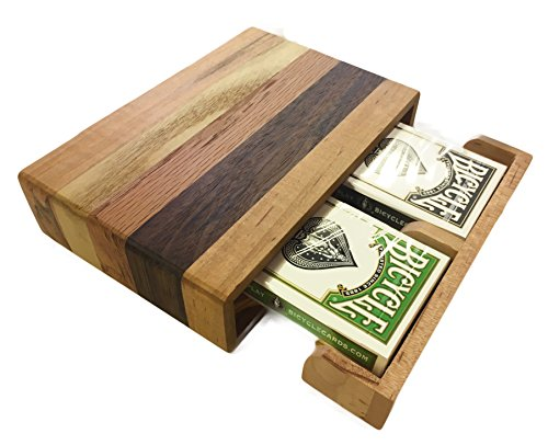 (Baron Barclay Handcrafted Wooden Playing Card Storage Box - Includes Two Decks of Bicycle Cards)