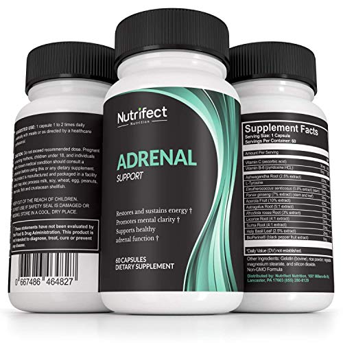 Nutrifect Nutrition Adrenal Support Supplements Keep You Sharp, Combats Stress, Anxiety, and Fatigue, Includes Vitamins B6, B12, Ashwagandha, Magnesium, 60 Capsules