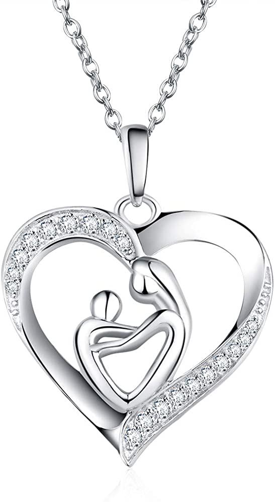 Sterling Silver Mother and Son Love Heart Women Necklace Pendant Cubic Zirconia White Gold Plated Chain