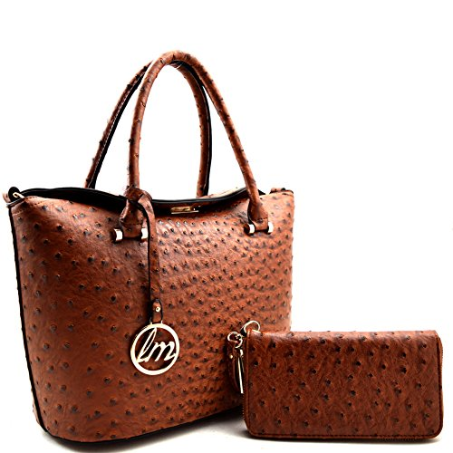 Ostrich Skin Embossed Turn-lock Top-Flap Satchel SET Brown