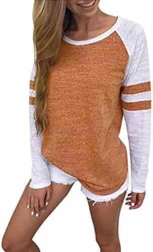 27fe80e348ef3 Fabal Fashion Women s Long Sleeve Splice Blouse Tops Ladies Casual Round Neck  T-Shirt