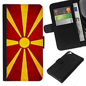 All Phone Most Case / Oferta Especial Cáscara Funda de cuero Monedero Cubierta de proteccion Caso / Wallet Case for HTC Desire 820 // National Flag Nation Country Macedonian