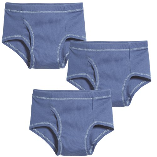 City Threads Boys' Brief Underwear All Cotton for Sensitive Skins SPD Sensory Friendly 3-Pack, All Denim Blue, -