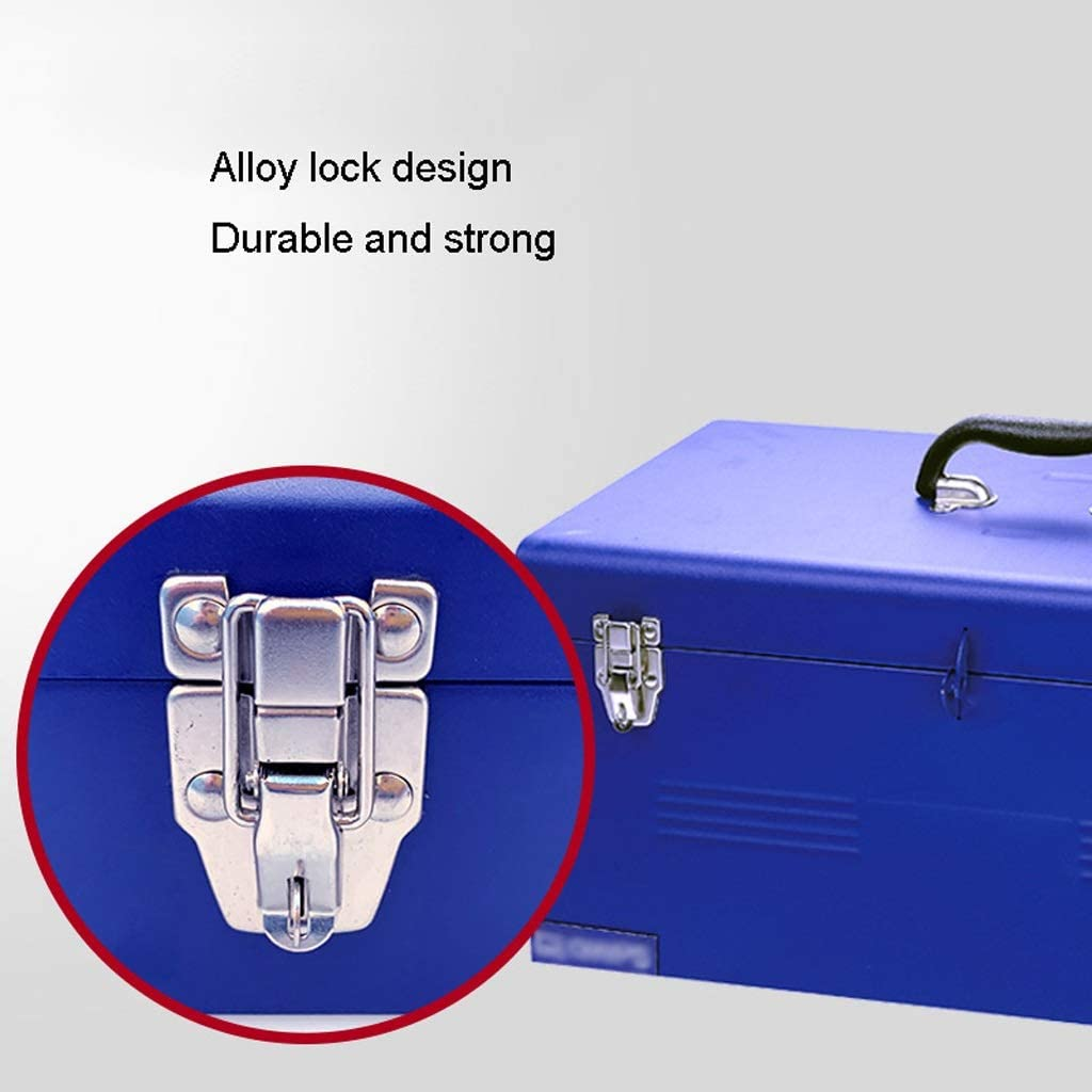 Tool Boxes Toolbox Industrial Grade Iron Thickening Toolbox Portable Household Toolbox Storage Box with Alloy Lock (blue) Toolbox (Color : A) A