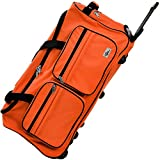Travel Duffel Bag Size Colour Choice 100L Wheeled Luggage Gym Sport Large Lightweight Telescopic Handle (Orange)