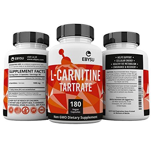 EBYSU L-Carnitine Tartrate - 180 Capsules 1000mg Max Strength Pure L Carnitine Supplement by EBYSU (Image #4)