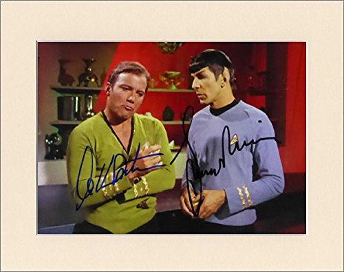 Artomic Autographs WILLIAM SHATNER AND LEONARD NIMOY CAPTAIN KIRK SPOCK STAR TREK SIGNED AUTOGRAPH PRINT IN 10X8 CREAM MOUNT
