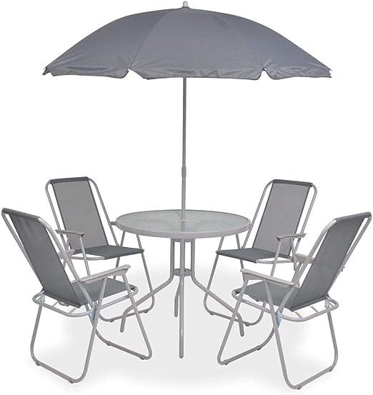 SHENGFENG Set de Comedor de jardín, 6 Piezas, Mesa: Acero + Vidrio Templado, Muebles Exterior 80 x 70 cm: Amazon.es: Jardín