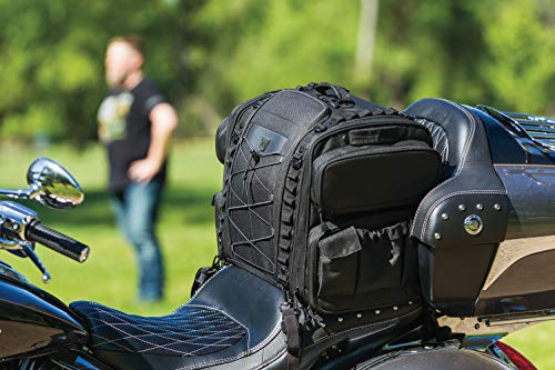 Bar Travel Bag Sissy - Kuryakyn 5284 Momentum Road Warrior Motorcycle Travel Luggage: Weather Resistant Seat/Trunk/Rack Bag with Sissy Bar Straps, Black
