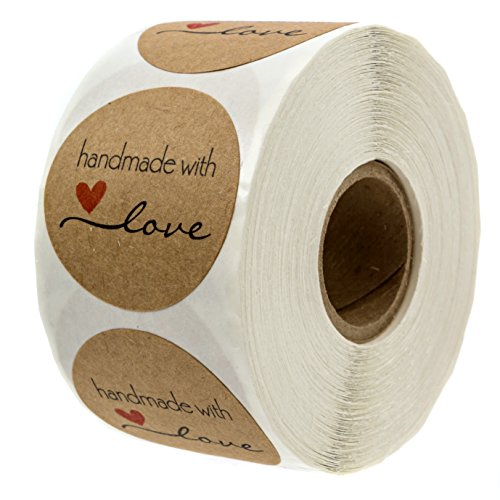 "1.5"" Inch Round Natural Kraft Handmade with Love Stickers/500 labels per roll from SBlabels"