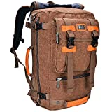 Canvas Backpack WITZMAN Vintage Travel Backpack Hiking Luggage Rucksack Laptop Bags AB2020 (20 inch brown)