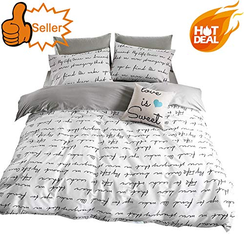 - OTOB Lightweight Cotton Duvet Cover Set for Teens Adults White Grey Queen 3 Piece Reversible Kids Home Textile Bedding Set Full with Pillowcases, Simple Letter Print