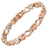 Womens Love Heart Titanium Magnetic Therapy Bracelet Size Adjusting Tool and Gift Box Included By Willis Judd