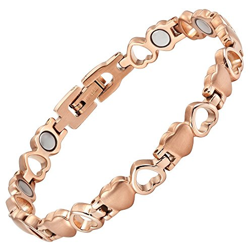 Womens Love Heart Titanium Magnetic Therapy Bracelet Size Adjusting Tool and Gift Box Included By Willis Judd by Willis Judd (Image #4)