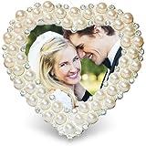 Cadre photo en forme de coeur avec pied - strass et perles