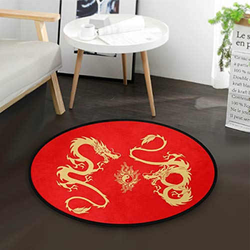 ALAZA Gold Dragon Yin Yang Chinese Red Round Area Rug for Living Room Bedroom 3' Diameter(92 cm)