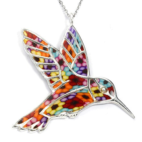 (925 Sterling Silver Hummingbird Necklace Pendant Handmade Multi-Colored Polymer Clay Bird Jewelry, 16.5