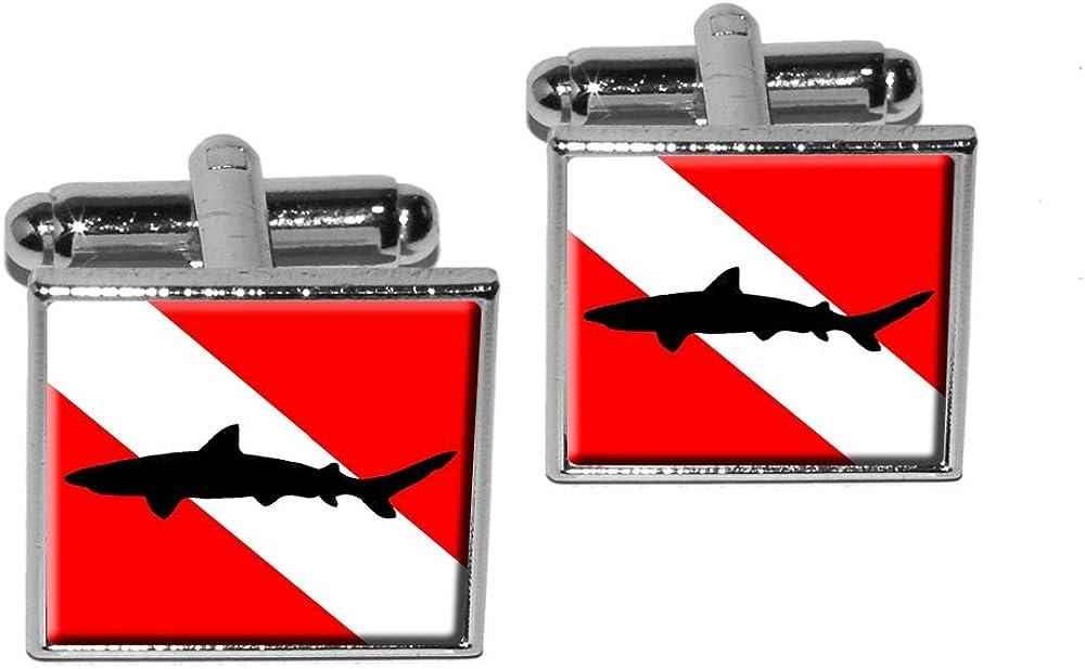 Graphics and More Diving Flag - Scuba Diver Dive - Shark Square Cufflink Set - Silver