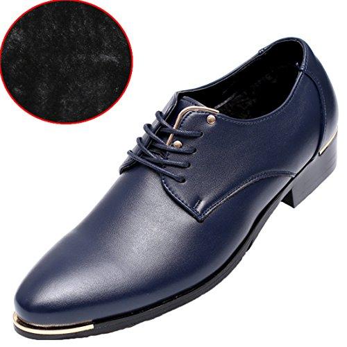 Trachtenmoden Haferlschuh Herren Oxford Schnürhalbschuhe Klassischer Schuhe Herbst Winter Schwarz Blau Weiß Braun Blau(Vlies)