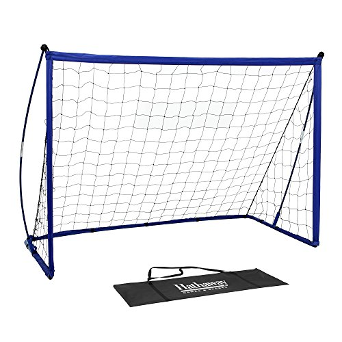 Hathaway Striker Portable Soccer Goal System with Black Net & Royal Blue Trim, Ground Stakes & Carry Bag, 4' x 6' Blue, Black, 35.4