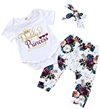SUPEYA Baby Girls Father's Day Outfits Letter Romper Floral Print Pants Headband