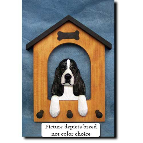 English Springer Spaniel (Liver) Doghouse Leash Holder (Leash Holder Spaniel Springer)
