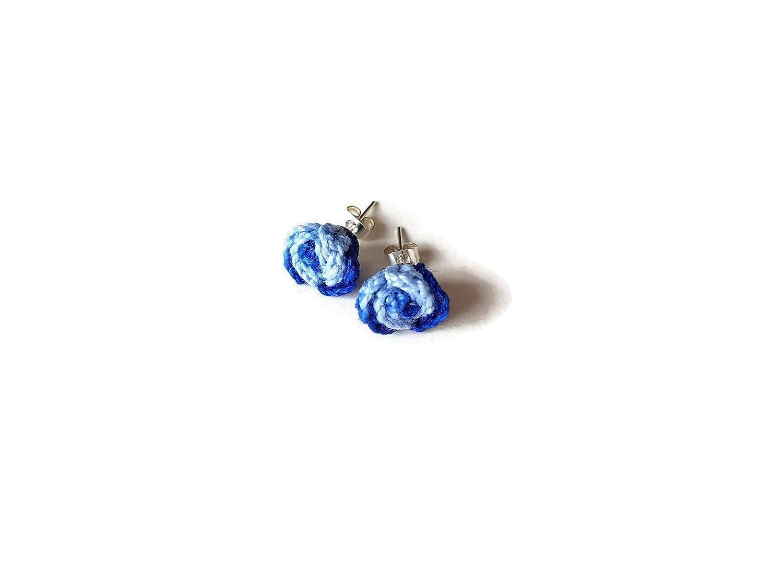 Blaue bicolor Ohrringe kleine Rosen handgefertigt h/äkeln Ozean