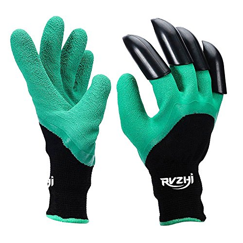RVZHI Garden Genie Gloves with Claws, Clawed Easy Gardening Gloves for Digging and Planting Right Handed Tools - As Seen On TV - 1 Pair