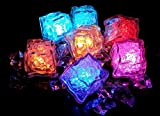 12 Pcs [Flashing Submersible LED Lights] Multi-Color Liquid Sensor Ice Cubes Light LED Glow Light Drinking Wine Wedding Party Decoration (Multi-Color)
